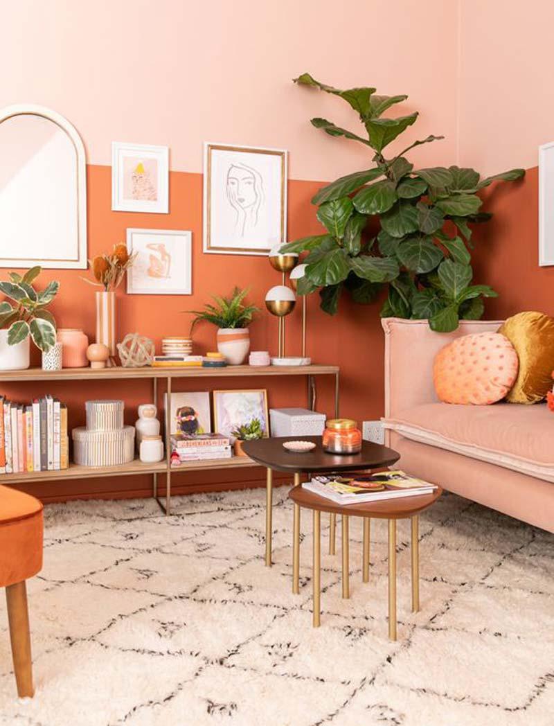 thiết kế nội thất màu cam