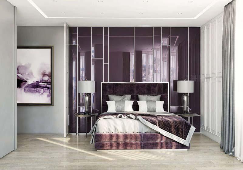 thiết kế nội thất màu tím
