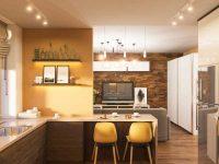 Thiết kế phòng bếp ấn tượng được tô điểm thêm sắc vàng từ mảng tường đến những chiếc ghế được decor.