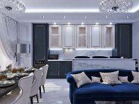 Mẫu thiết kế căn hộ chung cư đẹp, sang trọng với xanh và trắng là 2 màu sắc chủ đạo.